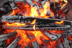 Flames on wood Stock Images