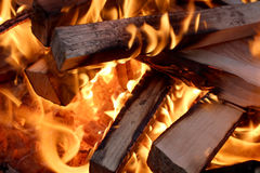 Flames and wood Stock Photography