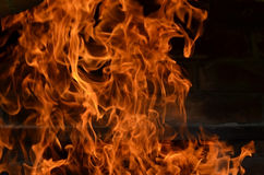 Flames from a wood fire. Beautiful flame in the evening Royalty Free Stock Photos