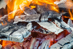 Flames in wood fire Stock Photography