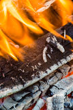 Flames in wood fire Royalty Free Stock Photos
