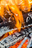 Flames in wood fire Stock Image