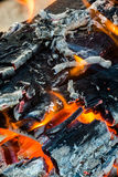 Flames in wood fire Royalty Free Stock Image