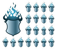 Flameshields blue pattern Stock Photo