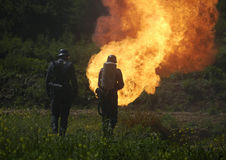 Flamethrower. In action used by german soldiers Stock Photography