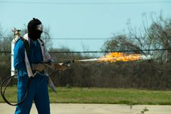 Free Flamethrower In Action. Flamethrower Operational Test Royalty Free Stock Photography - 122839307
