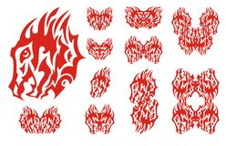 Flaming aggressive dragon head set. Fiery tribal dragon design collection Royalty Free Stock Images
