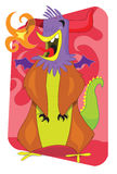 Flaming alien monster rooster cartoon illustration Stock Images