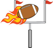 Flaming American Football Ball With Goal Stock Photo