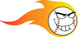 Flaming Angry Baseball Ball Cartoon Character Stock Images