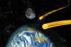 Flaming Asteroids on Earth Stock Photography