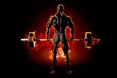 Flaming athlete with a barbell. Back view. 3d rendering Royalty Free Stock Photo