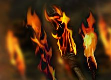 Flaming background. Background of burning torches Royalty Free Stock Photography