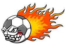 Flaming ball. Flaming football (soccer) ball. Soccer ball with mean face. Football mascot. Vector illustration Stock Photo