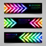 Flaming banners. Set of banners with multicolored flaming arrows Royalty Free Stock Photo