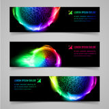 Flaming banners. Set of multicolored banners with flaming spheres Royalty Free Stock Photos