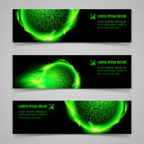 Flaming banners. Set of mystic banners with green flaming spheres Royalty Free Stock Photo