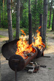 Flaming Barbecue Grills Royalty Free Stock Image