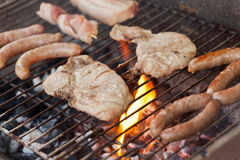 Flaming barbecue Royalty Free Stock Photos