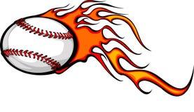Flaming Baseball Ball. Illustrated Baseball Ball Design with Flames Stock Image