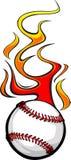 Flaming Baseball Ball. Illustrated Vector Baseball Ball Design with Flames Stock Images
