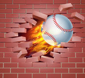 Flaming Baseball Ball Breaking Through Brick Wall Stock Image