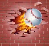 Flaming Baseball Ball Breaking Through Brick Wall. An illustration of a burning flaming Baseball ball on fire tearing a hole through a brick wall Stock Image