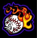 Flaming Baseball Ball Face Vector Image. Flaming Baseball Ball Face Illustration Vector Royalty Free Stock Photography