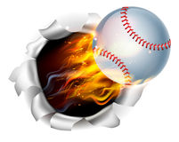 Flaming Baseball Ball Tearing a Hole in the Background Royalty Free Stock Photo