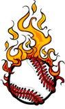 Flaming Baseball Or Softball Ball Logo Royalty Free Stock Image