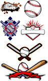 Flaming Baseball Softball and Bats. Vector Baseball and Softball Images stock illustration