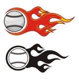 Flaming baseballs Stock Photo