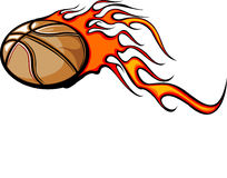 Flaming Basketball. Illustrated Basketball Design with Flames Stock Photos