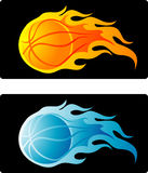 Flaming Basketball. Comes with two color schemes: Orange & Blue. Organized layers, vector based illustration stock illustration