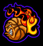 Flaming Basketball Ball Face Vector Image. Flaming Basketball Ball Face Illustration Vector Royalty Free Stock Photography