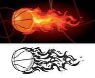 Basketball on Fire Zooming Across Court stock illustration