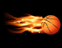 Flaming Basketball. An illustration of a flaming basketball flying through a black background. Vector EPS 10 file available. EPS contains transparencies and royalty free illustration