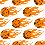 Flaming basketballs seamless pattern Stock Images