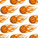 Flaming basketballs seamless pattern Stock Images