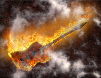 Flaming Bass Guitar. High Resolution 3D Illustration Flaming Bass Guitar against rusted metal background Royalty Free Stock Images