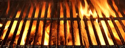 Flaming BBQ Charcoal Grill Background Royalty Free Stock Photography