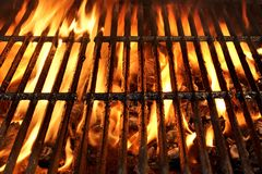 Flaming BBQ Charcoal Grill Background Royalty Free Stock Photos