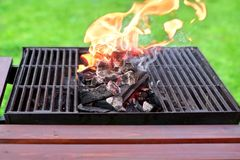 Flaming BBQ Grill Stock Photo