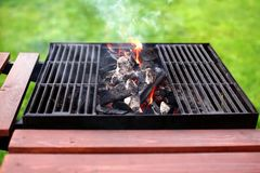 Flaming BBQ Grill Royalty Free Stock Image