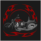 Flaming Bike - Retro Chopper and tribal flame Royalty Free Stock Photo