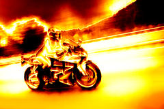 Flaming Biker Girl Stock Image