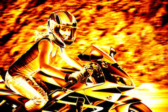 Flaming Biker Girl. A woman in action driving a motorcycle at highway speeds with a fiery effect Stock Photos