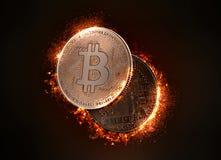 Flaming Bitcoin coin. 3D illustration Stock Photo