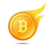 Flaming bitcoin symbol, icon, sign, emblem. Vector illustration. Stock Photography