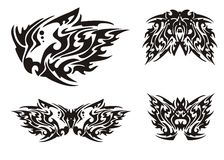 Flaming black dragon head and butterflies in tribal style Stock Image